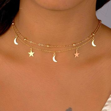 Stars And Moon Choker Necklace 2 Layer