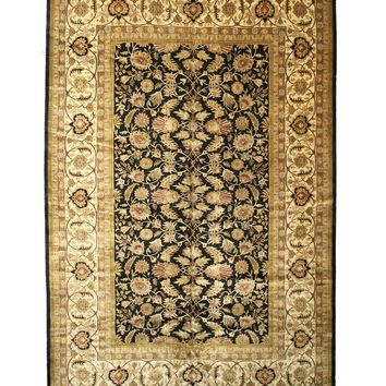 EORC Hand-knotted New Zealand Wool Black Traditional Oriental Sarouk Rug