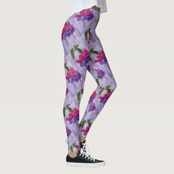 PURPLE AND PINK FUSCHIA | FLORAL LEGGINGS