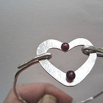 Sterling Silver Wire Bangle with Heart and Garnets