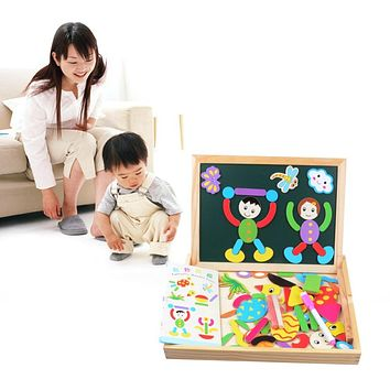 Children Animal Figure Statue Wooden Puzzle Magnetic Drawing Board Fantastic Easel Toys Wooden Magnetic Board Educational Toys