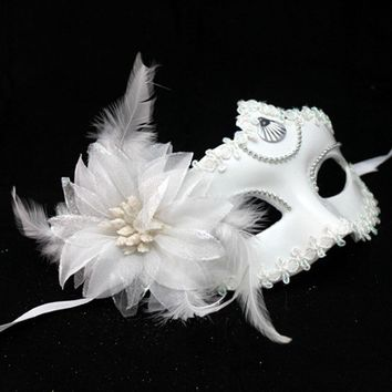 Fancy Masquerade Party Venetian Profile Flower Half Face Plastic Feather Mask