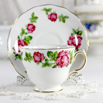 Royal Vale Duo, Vintage Teacup, Tea Cup and Saucer, Deep Pink Roses 12449