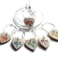 Custom Wine Glass Charms, Personalised Wedding Favours, Table Gifts, Bridesmaid Gifts