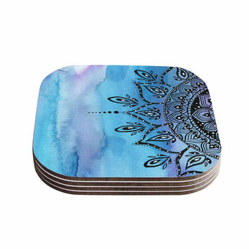 "Li Zamperini ""Blue Mandala"" Aqua Black Coasters (Set of 4)"