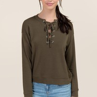 Adela Long Sleeve Lattice Sweatshirt