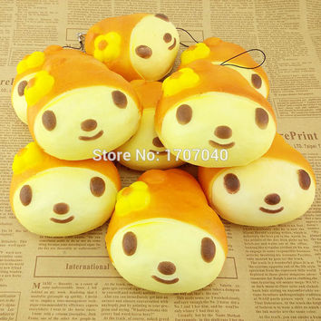 10CM Jumbo Squishy My Melody Bread Scented Bow Cellphone Charm Strap Soft Key Chains 1PCS