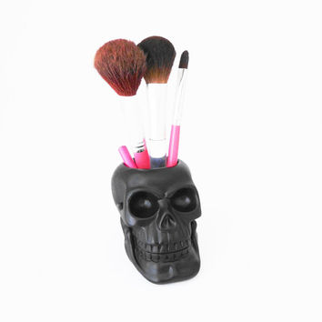 Skull, Pen Holder, Makeup Brush Holder, Candle Holder, Skull Candle, Skulls, Painted Skull, Skull Makeup Brush Holder,Skull, Candle Skull,