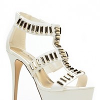 Anne Michelle All The Gold White Caged Heels @ Cicihot Heel Shoes online store sales:Stiletto Heel Shoes,High Heel Pumps,Womens High Heel Shoes,Prom Shoes,Summer Shoes,Spring Shoes,Spool Heel,Womens Dress Shoes