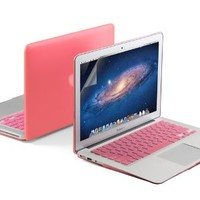 GMYLE(R) 3 in 1 Pink Matte Rubberized (Rubber Coated) Hard Case for 11 inches Macbook Air - Pink Silicon Keyboard Cover - Clear LCD Screen Protector (Fit For 2013 Model)