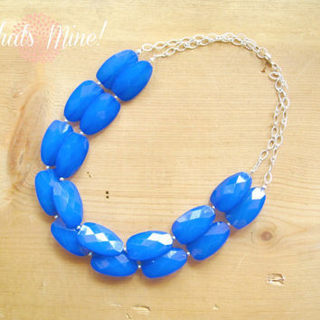 Cobalt Blue Statement Necklace, blue double strand necklace