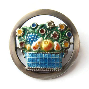 Vintage Art Deco enamel and silver brooch, fruit and flower basket design, by Thomas Hopwood of Birmingham, 1920s, sterling silver. #206.