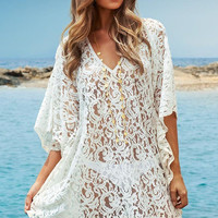 V- Neckline White Lace Beach Kaftan Dress