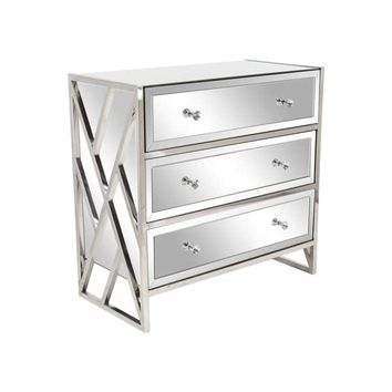 Modern Wood and Stainless Steel Mirrored Console | Overstock.com Shopping - The Best Deals on Coffee, Sofa & End Tables