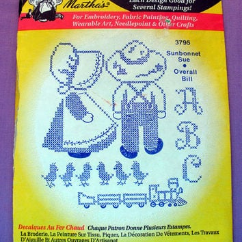 "Aunt Martha's ""Sunbonnet Sue and Overall Bill"" Hot Iron Transfer Pattern 3795 for Embroidery, Fabric Painting, Crafts"