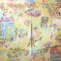 Pastel Yellow Blue and Pink Paris Theme Decorative Cotton Fabric Joan Kessler Concord Fabrics 4 + yards Slipcover , Pillows , Roman Shade