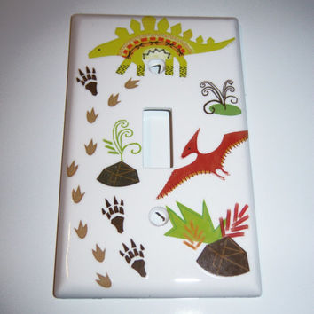 Dinosaurs single light switch cover