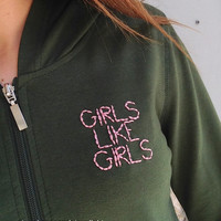 GIRLS LIKE GIRLS Hayley Kiyoko Inspired Pink-Embroidered Olive Green Zipper Hoodie Jacket