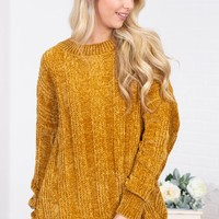 Lavinia Ribbed Chenille Sweater | Gold