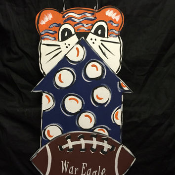 FALL BLOWOUT SALE War Eagle door hanger - Auburn door hanger - Aubie - Auburn - Wde door hanger - Football decor - Tiger door decor - Jack J