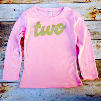 Pink long sleeve with gold glitter girls 2nd Birthday shirt sparkle two