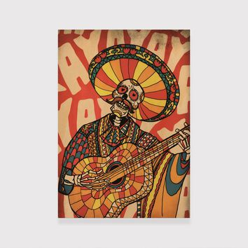 Mariachi Wood Print, Mexican Sugar Skull Art Print On Wood, Funny Skull Home Decor