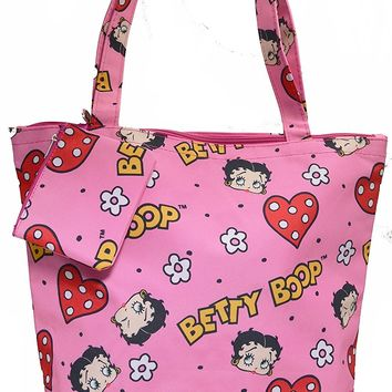 Pink Colorful Betty Boop Tote Bag Bonus Coin Purse