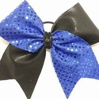 CHEERLEADING BOW - BLUE SEQUINS / BLACK METALLIC CHEER BOW black center with attached elastic PONY-O 3 inch base width Team orders available by request