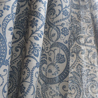 NEW !!! PAIR of Gray Linen Curtain Panel Natural linen with blue ornaments Burlap Modern print  Curtains