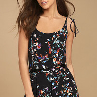 All Over the Whirled Black Floral Print High-Waisted Shorts