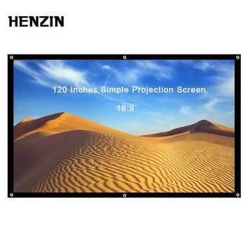 120 Inch 16:9 Portable Projector Screen Simple Foldable Projection Screen Front & Rear Polyester For Home Theater & Outdoor Use