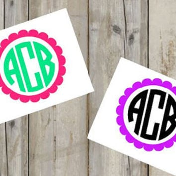 Two Color Circle Monogram Decal for Yeti's, Cars, Laptops, and More! - Thick Monogram - Block Monogram - Scallop - Sticker - Custom Decal -
