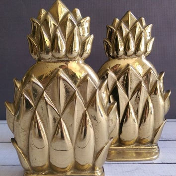 Brass Pineapple Bookends/ Pair of Brass Bookends/ Brass Pineapples/ Vintage Brass Bookends/ Antique Bookends