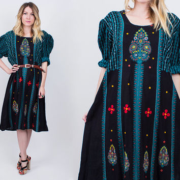 vintage 80s floral tribal kaftan midi dress dashiki ethnic bohemian black free striped embroidered boho tunic tent