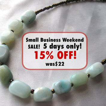 Dainty & simple amazonite necklace. Natural sky blue gemstone jewelry. Perfect for layering. Everyday meditation, zen.