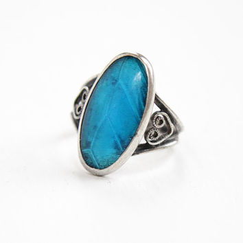 Vintage Sterling Silver Blue Morpho Butterfly Wing Ring - 1920s 1930s Size 3 3/4 Art Deco Swirled Filigree Jewelry