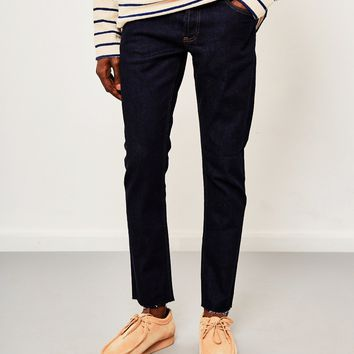 The Idle Man Slim Fit Raw Hem Jeans Rinse Wash/Raw