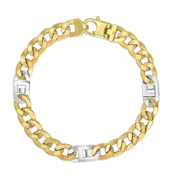 """14k Yellow And White Gold Diamond Cut Curb Mariner Link Mens Bracelet, 8.5"""""""