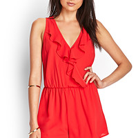 FOREVER 21 Ruffled Surplice Romper Red
