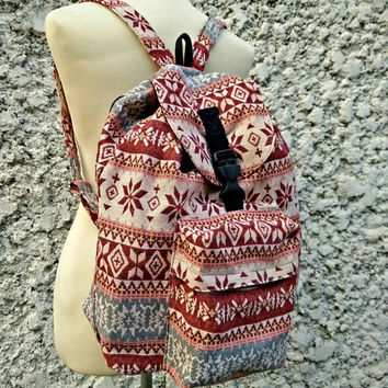 Backpack Aztec Boho Tribal Festival Bags Travel bag cyclin Diaper Hippies Ethnic Hobo Style Hipster bohem Pattern Beach School Messenger red