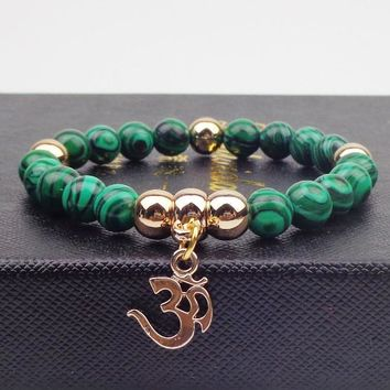 GOLD PLATED OM WITH 8MM NATURAL STONE BRACELET FEMME BANGLES ELASTIC ROPE CHAIN YOGA BRACELETS FOR WOMEN JEWELRY