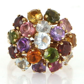 Vintage Rainbow Gemstone Dome Cocktail Ring 18 Karat Gold Estate Fine Jewelry