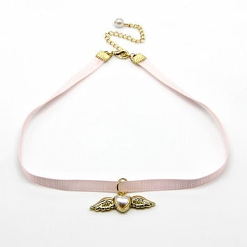 Cartoon Anime Cardcaptor Sakura Heart Wings Pendant Lolita Harajuku Ribbon Strap Cosplay Choker Necklace -03130