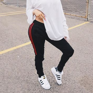 Women Fashion All-match Stripe Webbing Show Thin High Waist Tight Leisure Pants Trousers Sweatpants