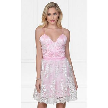 Indie XO Feeling Butterflies Pink Lace Sleeveless Spaghetti Strap Bustier V Neck Skater Circle A Line Flare Mini Dress