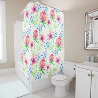 floral rose design art beautiful shower curtain