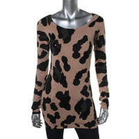INC Womens Knit Animal Print Tunic Sweater