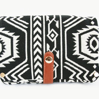Black Geo Print Crossbody Bag