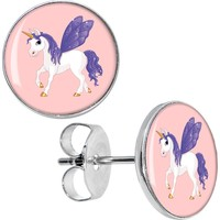 Purple Winged Fairy Unicorn Stud Earrings