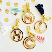 Gold Monogram Acrylic Keychain with Gift Box
